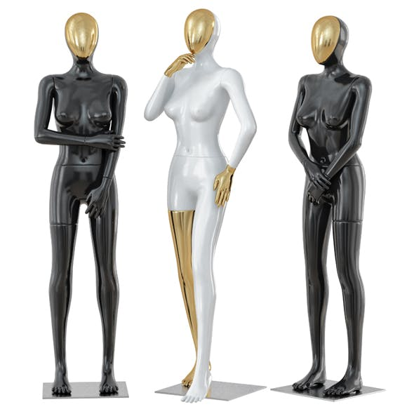 Three female mannequin with a golden face 41 - 3DOcean Item for Sale