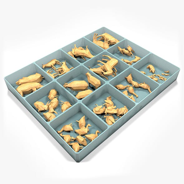 Box With Wooden Animals Toys