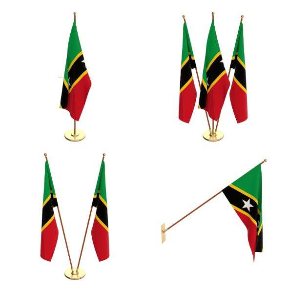Saint Kitts And Nevis Flag Pack - 3DOcean Item for Sale