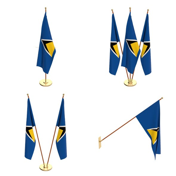 Saint Lucia Flag Pack - 3DOcean Item for Sale