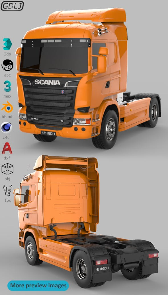 Scania R730 V8 Orange - 3DOcean Item for Sale