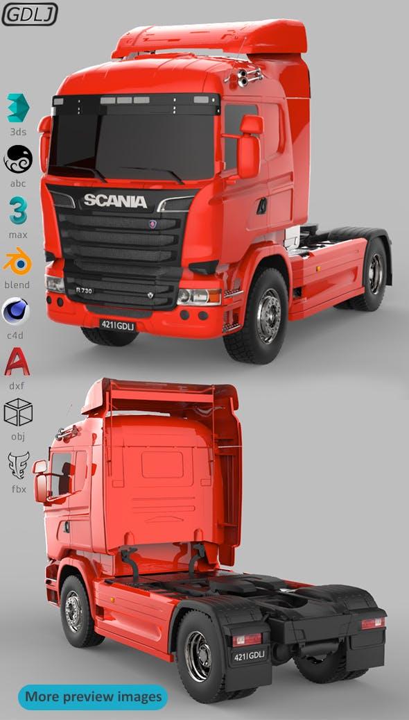 Scania R730 V8 Red - 3DOcean Item for Sale