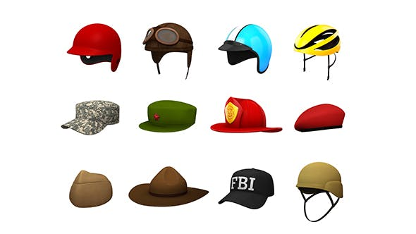 Hats and Helmet Pack 4 - 3DOcean Item for Sale