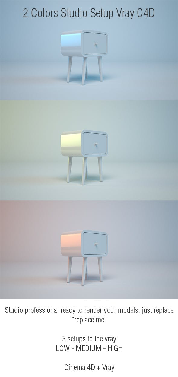 Studio 2 Colors C4D - Vray - 3DOcean Item for Sale