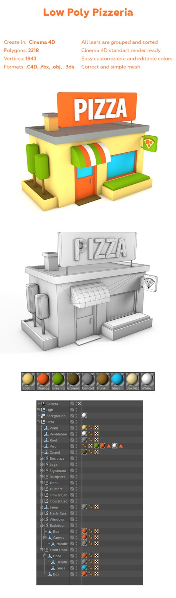 Low Poly Pizza Shop - 3DOcean Item for Sale