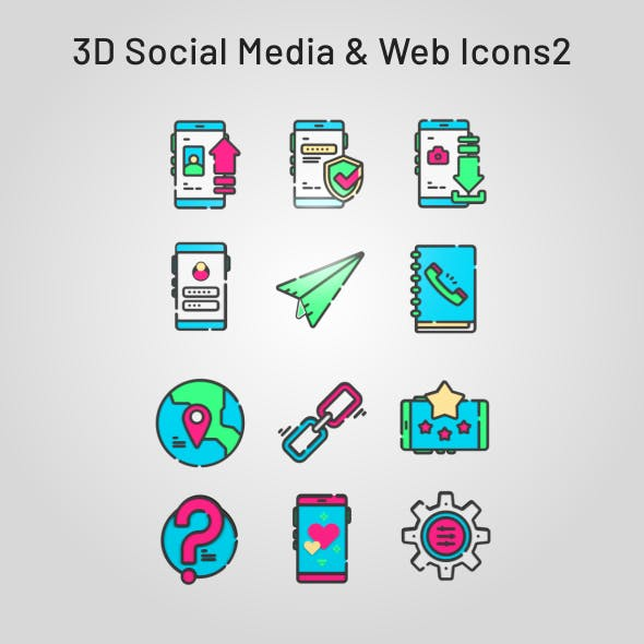 3D Social Media and Web Icons Emoticons 2