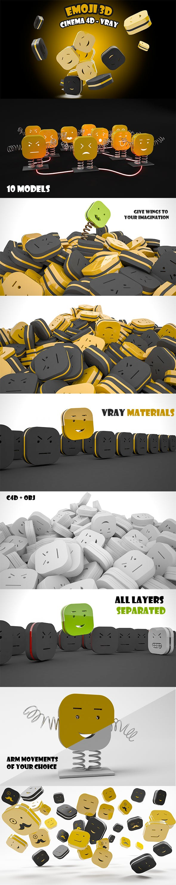 Emoji 3D - C4D / Vray - 3DOcean Item for Sale