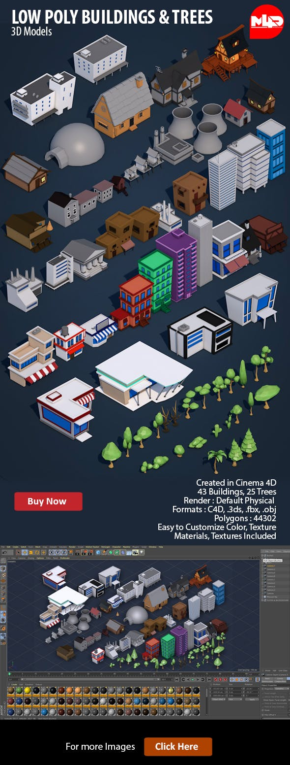 Low Poly City Buildings & Trees - 3DOcean Item for Sale