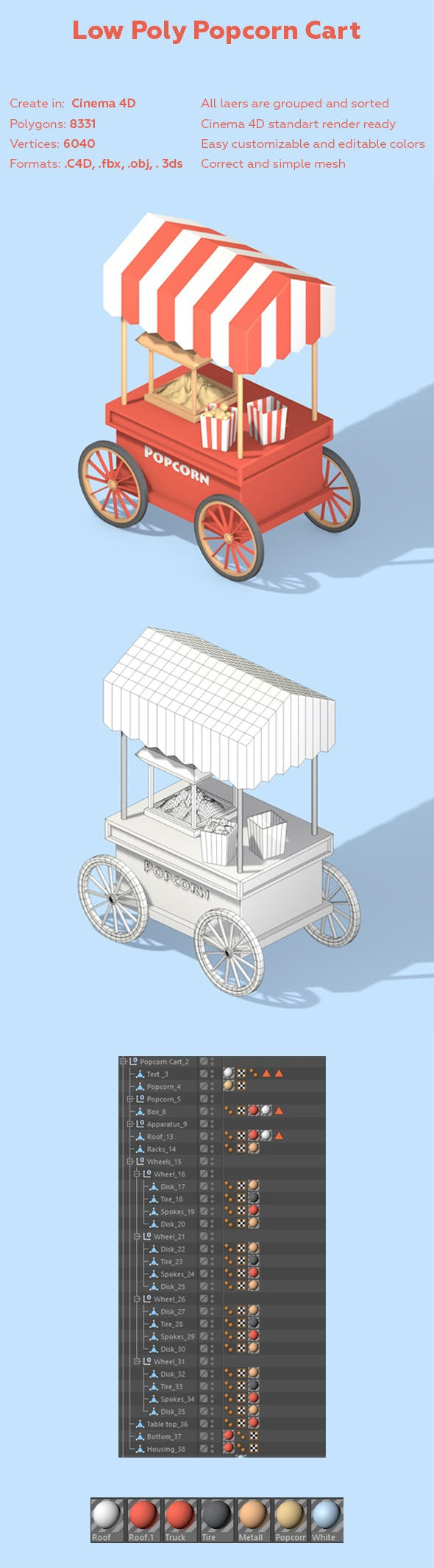 Low Poly Popcorn Cart - 3DOcean Item for Sale