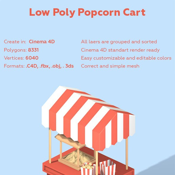 Low Poly Popcorn Cart