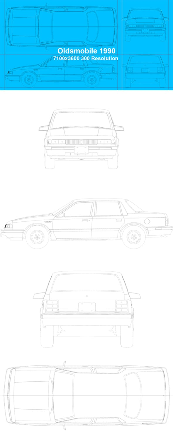Oldsmobile 1990 Blueprints - 3DOcean Item for Sale