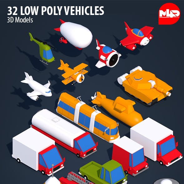 32 Low Poly Vehicles - Ready for Games