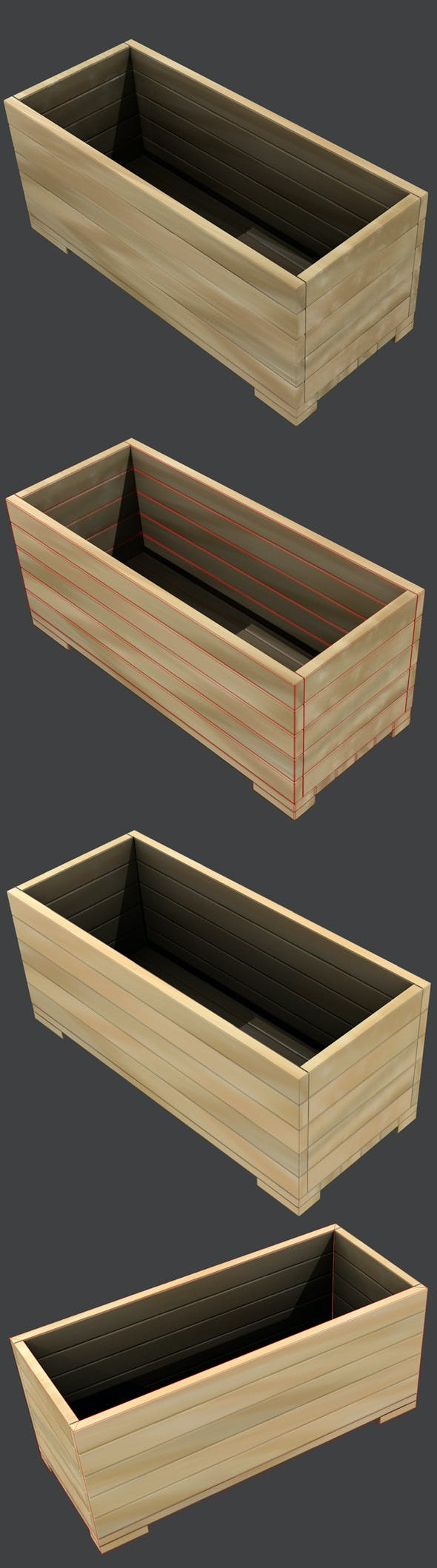 Wooden Box / Flower Pot High and Low-poly - 3DOcean Item for Sale
