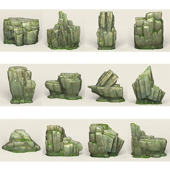 Game Ready Stone Cliff Collection - 3DOcean Item for Sale