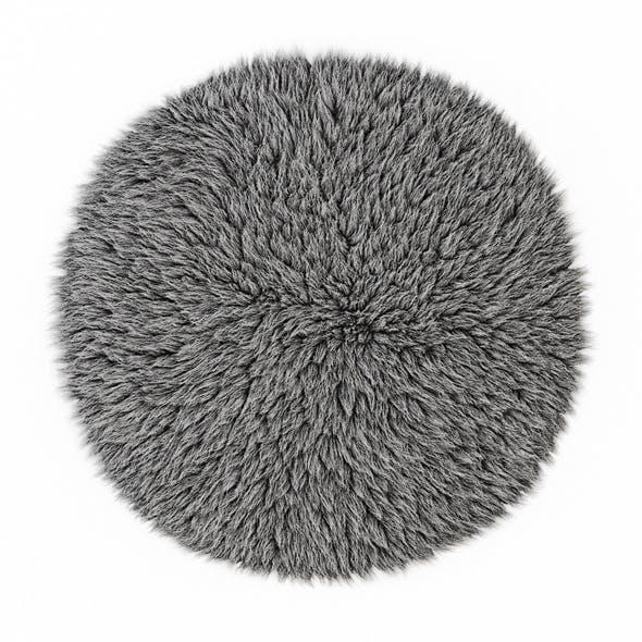 Round gray carpet fur - 3DOcean Item for Sale