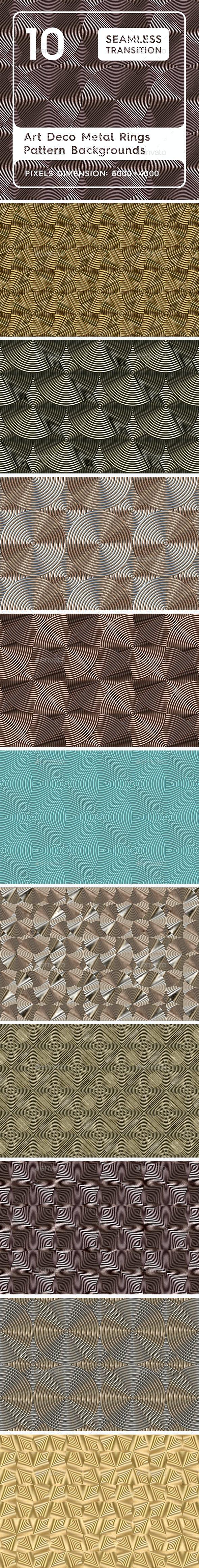 10 Art Deco Vintage Rings Pattern Backgrounds - 3DOcean Item for Sale