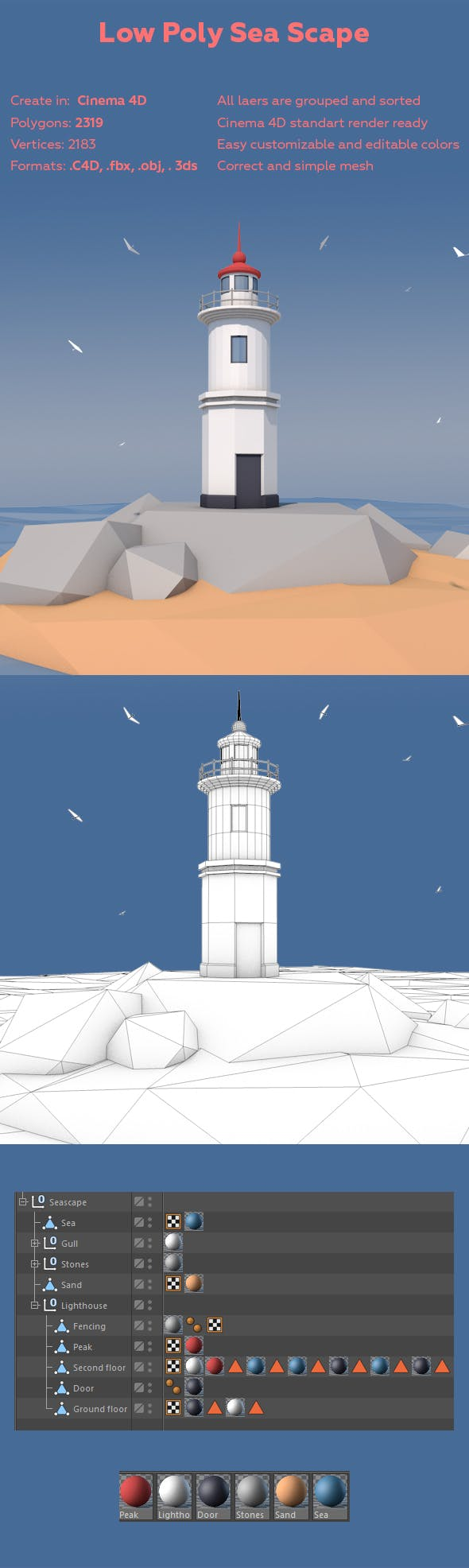 Low Poly Sea scape - 3DOcean Item for Sale
