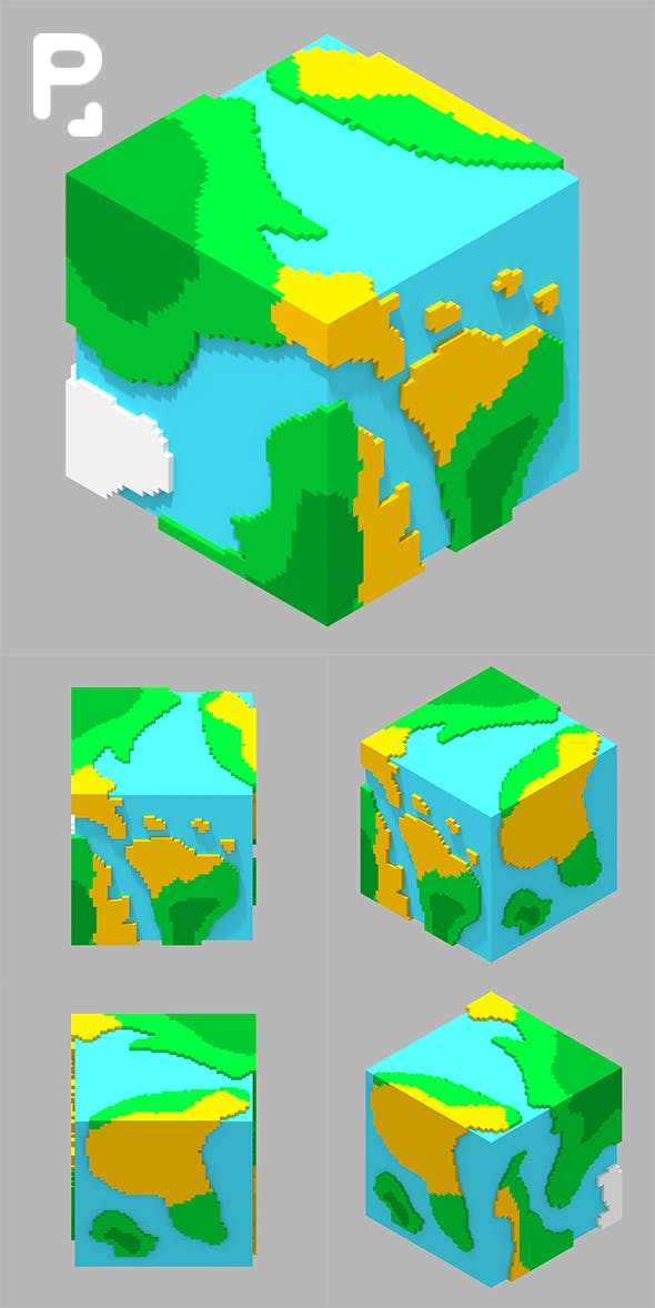 Voxel Planet Earth - 3DOcean Item for Sale