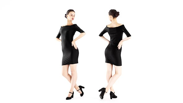 Woman in a little black dress 01 - 3DOcean Item for Sale