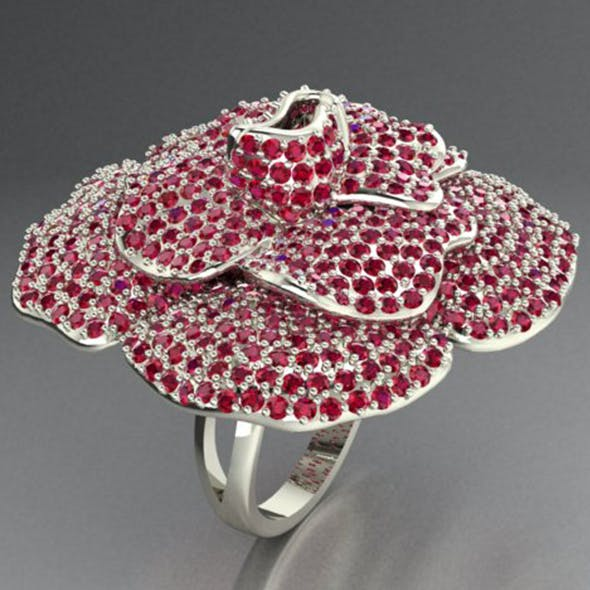 Diamond Flower Ring. - 3DOcean Item for Sale