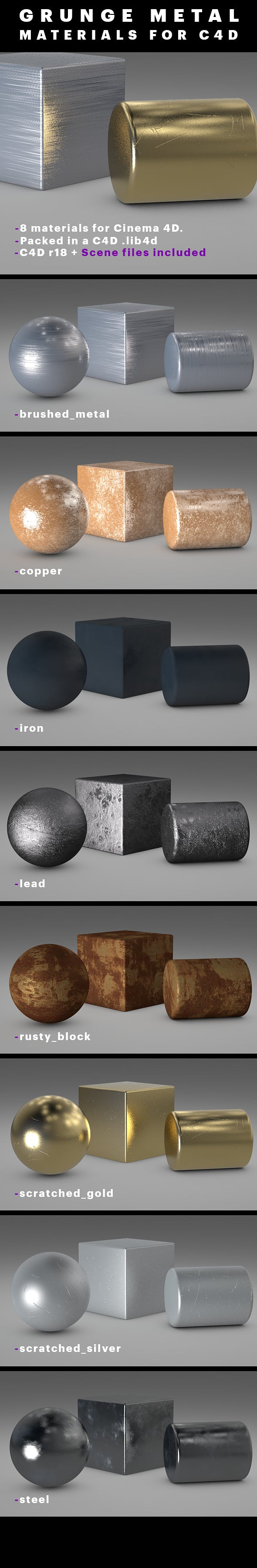 Grunge Metal Materials For C4D - 3DOcean Item for Sale