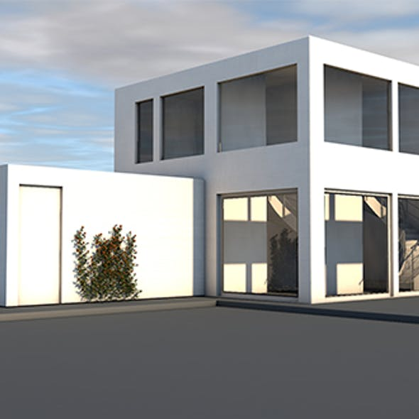 Modern House. Texturized and Illuminated Scene, Ready for Visualizations