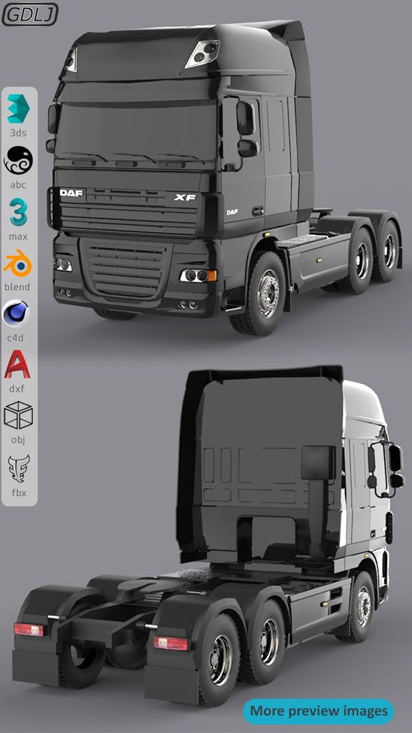 DAF XF 105 Black - 3DOcean Item for Sale