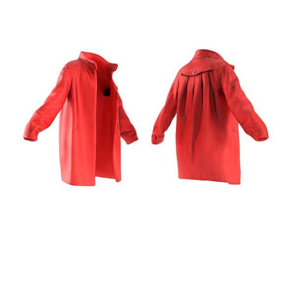 Red wool coat - 3DOcean Item for Sale