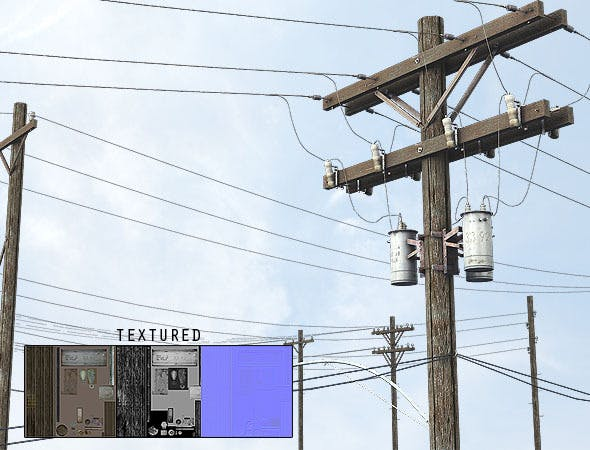 Electrical Pole - Made of Wood - 3DOcean Item for Sale