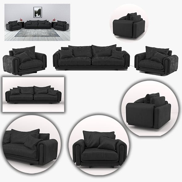 Black leather sofa and armchair furniture set by Racksuz ...