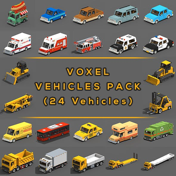 Voxel Vehicles Pack (24 Vehicles) - 3DOcean Item for Sale