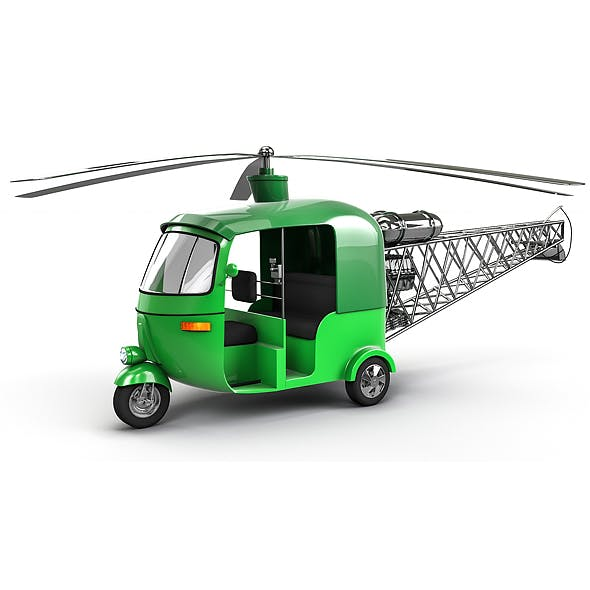 Auto Helicopter Low-poly 3D model