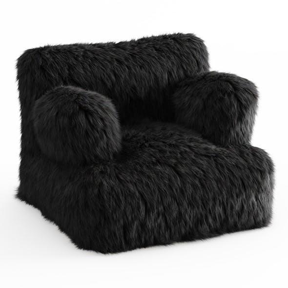 Winter Fox Faux-Fur Eco-Lounger Black - 3DOcean Item for Sale
