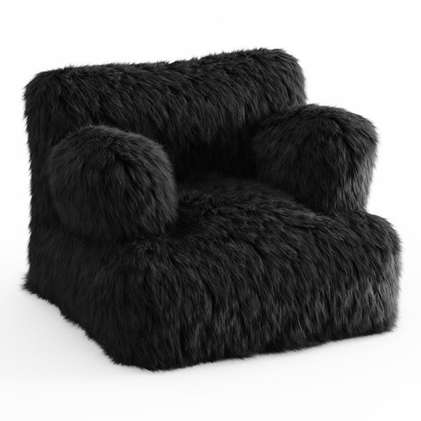 Winter Fox Faux-Fur Eco-Lounger Black