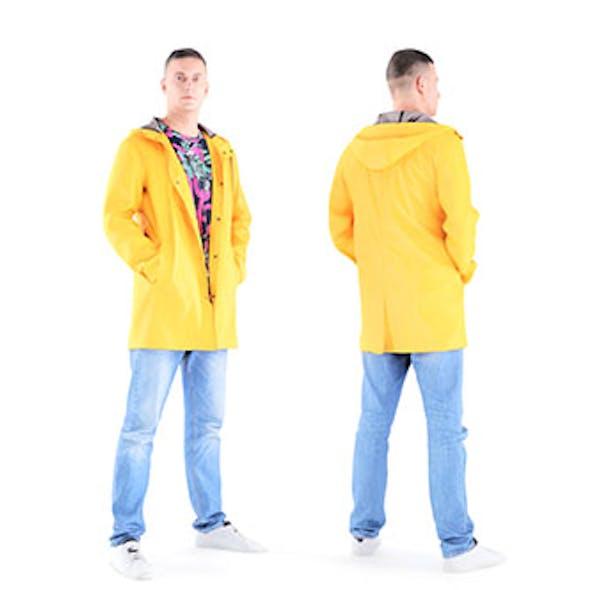 Man in yellow raincoat 01