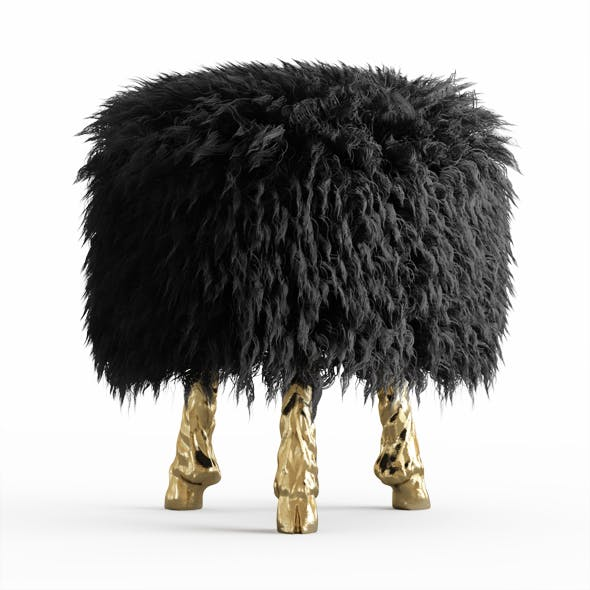 Mongolian lamb wool chair - 3DOcean Item for Sale