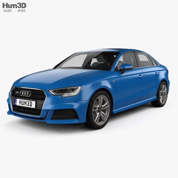 Audi A3 S-line sedan with HQ interior 2016 - 3DOcean Item for Sale