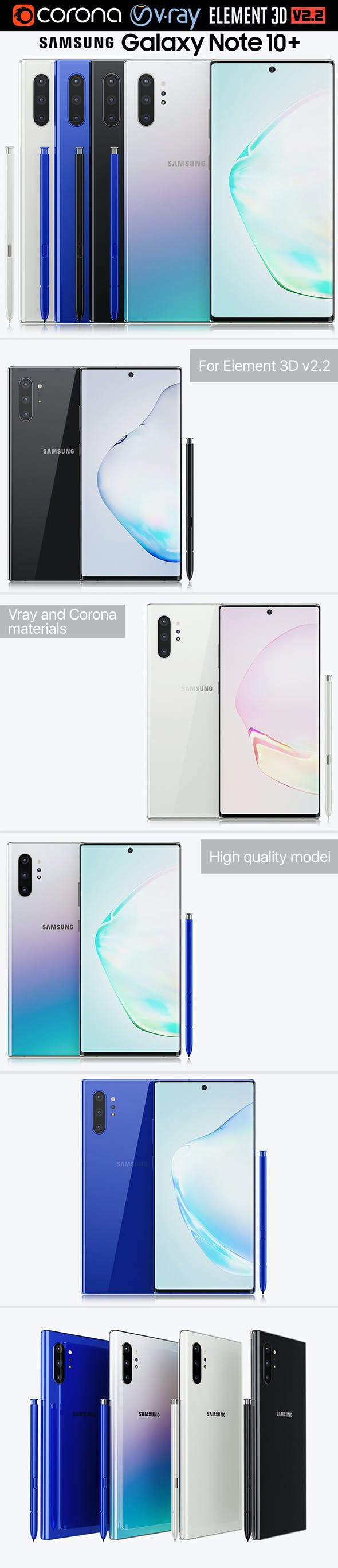 Samsung Galaxy Note 10 Plus All Colors - 3DOcean Item for Sale