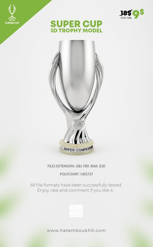 UEFA Super Cup Trophy 3D Model - 3DOcean Item for Sale