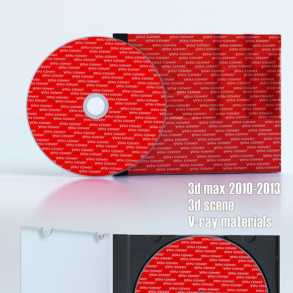 High quality 3d model of CD case and CD disk
