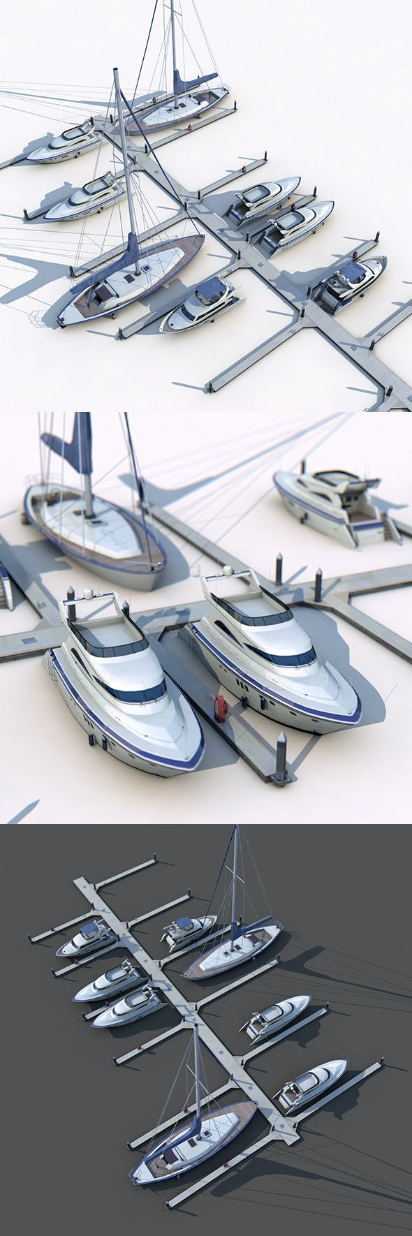 Piers and Yachts - 3DOcean Item for Sale