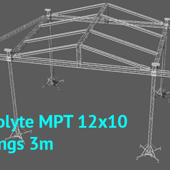 Prolyte MPT 12x10 roof with side wings 3m original