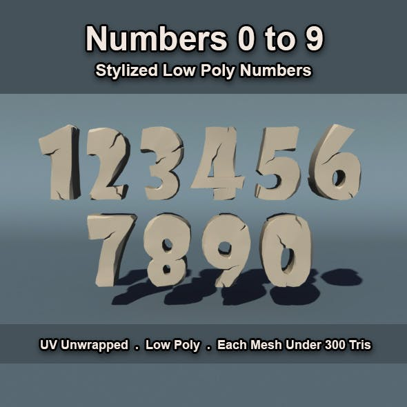Low Poly Numbers - 3DOcean Item for Sale