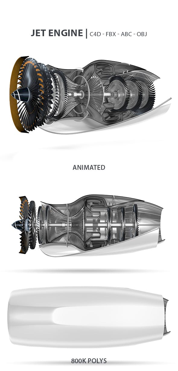 Jet Engine Animated 3D Model - 3DOcean Item for Sale
