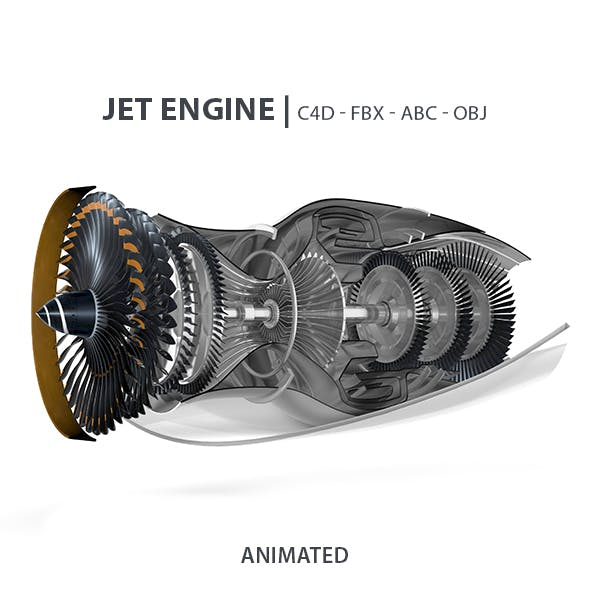 Jet Engine Animated 3D Model