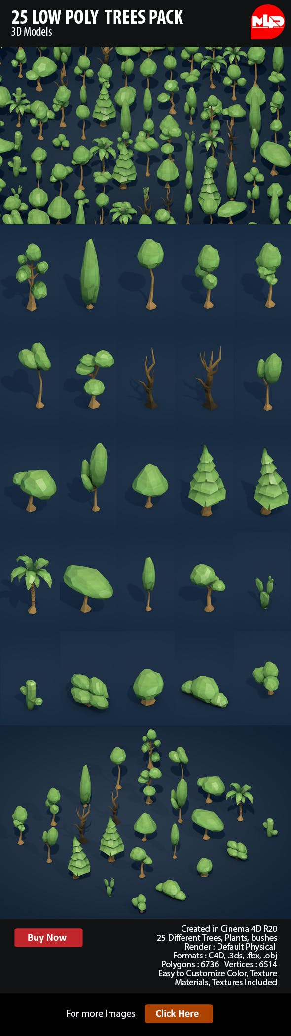 25 Low Poly Trees Plants Bushes - 3DOcean Item for Sale