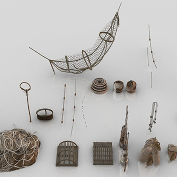 Collection of 24 Medieval Fishing Nets and Tools