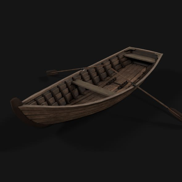 wooden boat with oars Low-poly 3D model