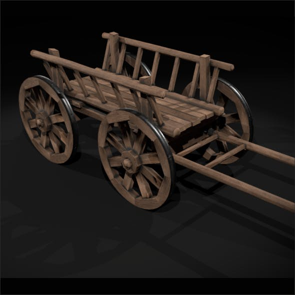 wooden cart Low-poly 3D model