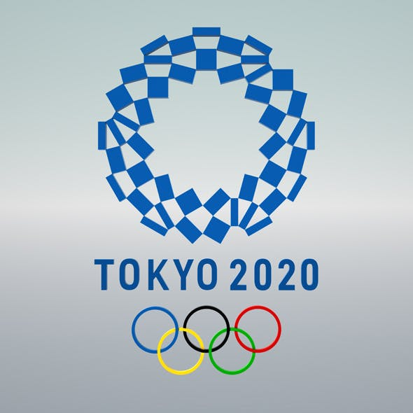 3d model of olympic logo for games in Tokyo 2020